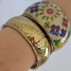 2 Vintage Bangle Bracelets Bronze Metal Floral